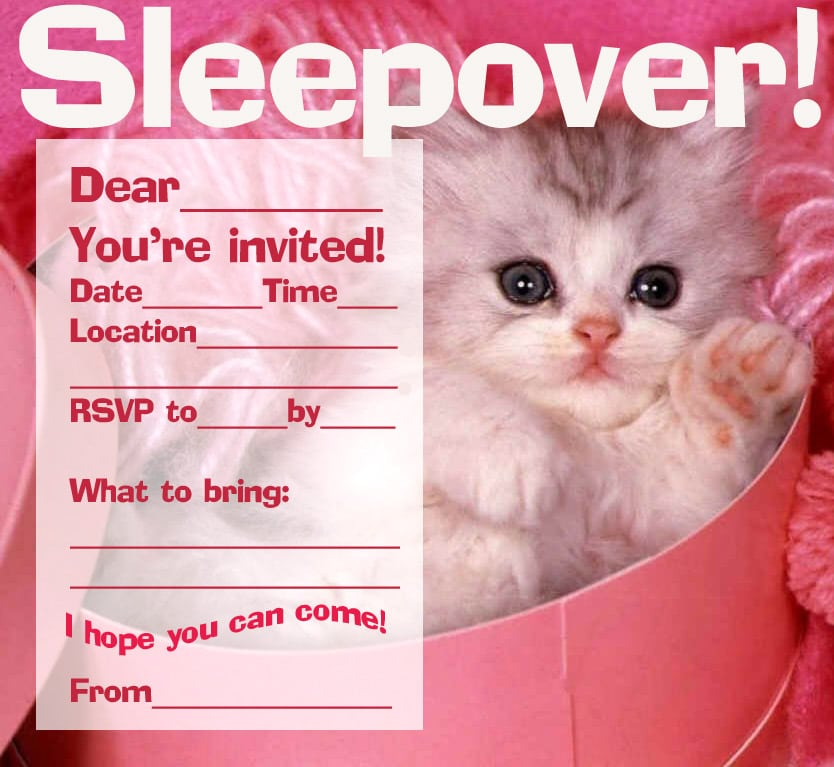 Free Sleepover Invitation For Boys Downloadable