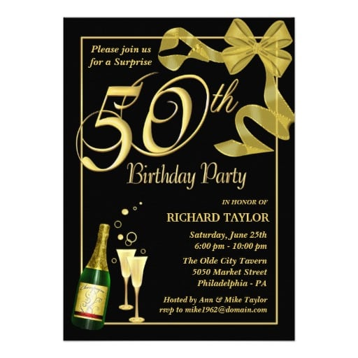 Free Template 50th Suprise Birthday Party Invitation