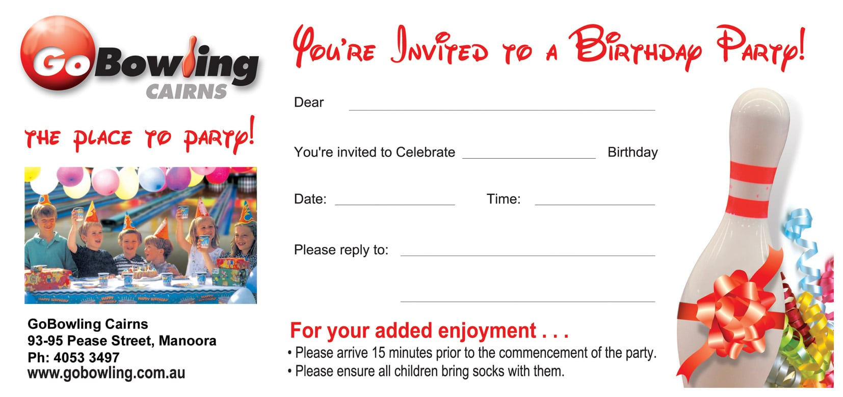 Free Template Bowling Party Invitations