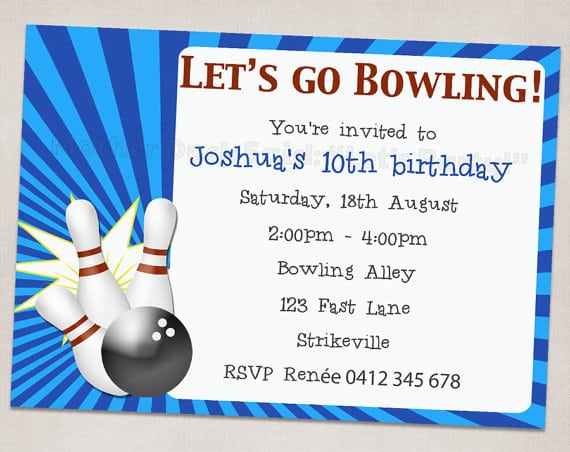 Free Ten Pin Bowling Party Invitations