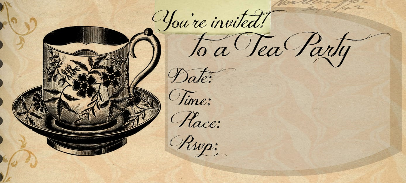 Free Vintage Tea Party Invitation Template