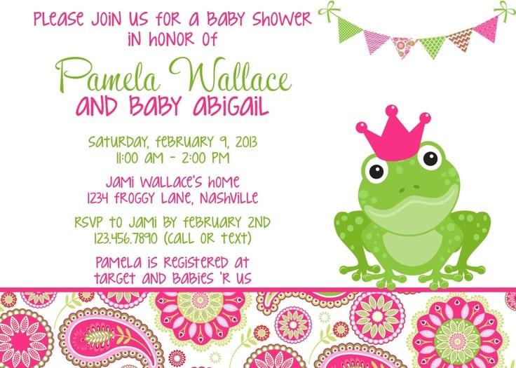 Girl Frog Baby Shower Invitation