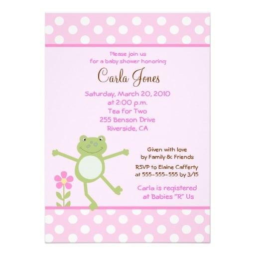 Girl Frog Baby Shower Invitations