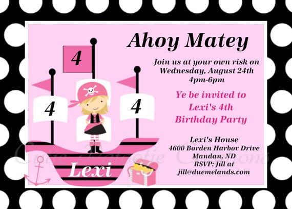 Girl Pirate Invitation Printable