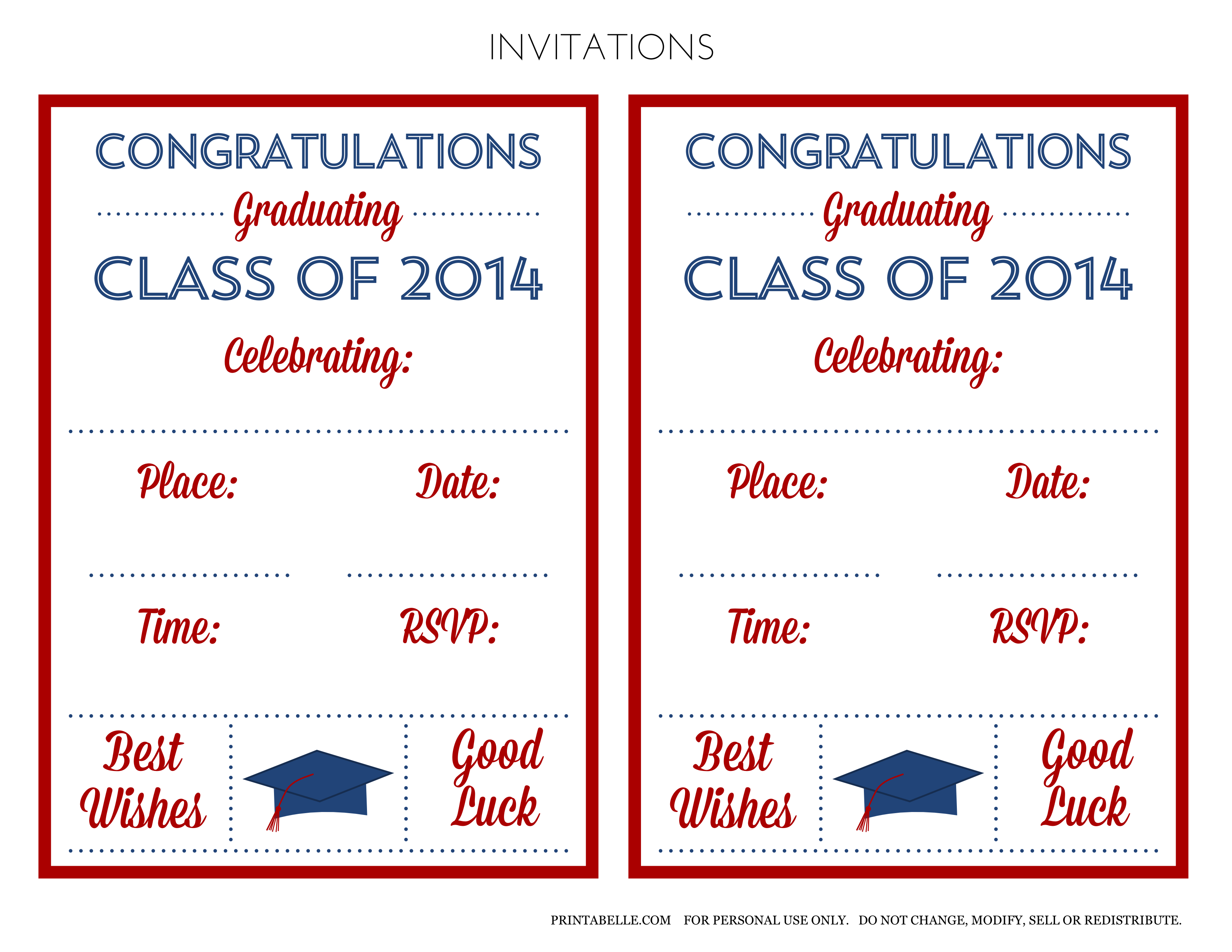 Graduation Party Free Printable Invitations