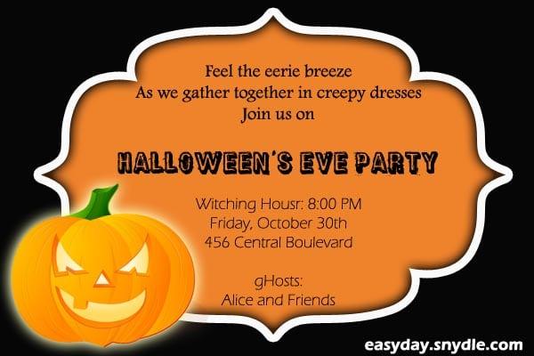 Halloween Invitation Party Wording
