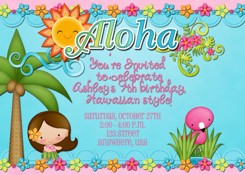 Hawaiian Birthday Party Invitation