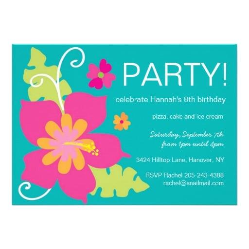 Hawaiian Birthday Party Invitations Free