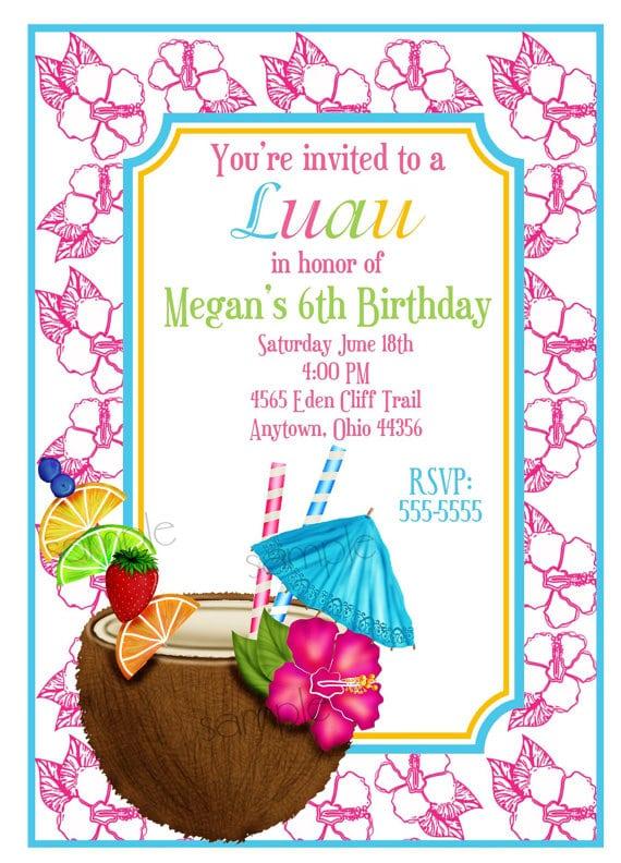 Hawaiian Birthday Party Invitations Templates