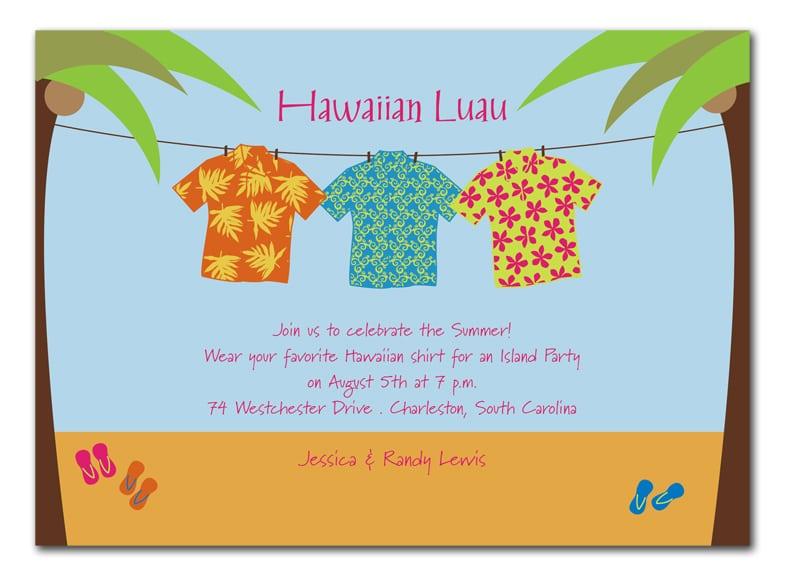 Hawaiian Themed Party Invitation Templates