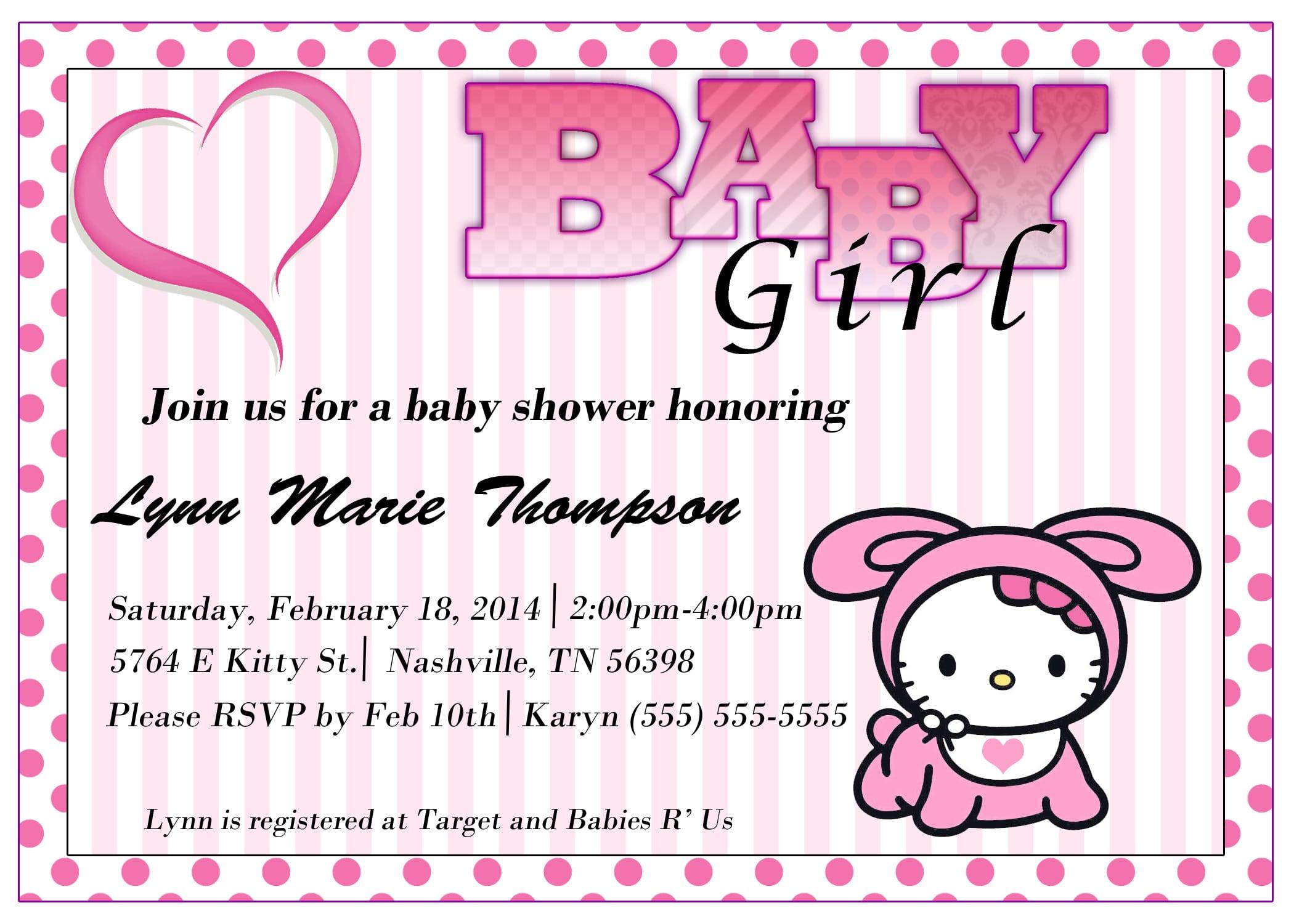 Hello Kitty Baby Shower Invitation Printable Free