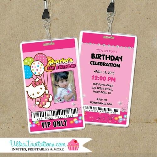 Hello Kitty Backstage Birthday Invitation Cards