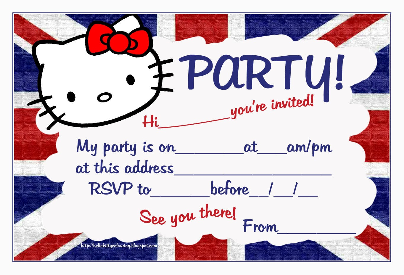 Hello Kitty Invitation Card Free Printable