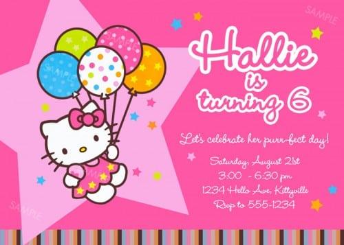 Hello Kitty Invitation Card Free Template
