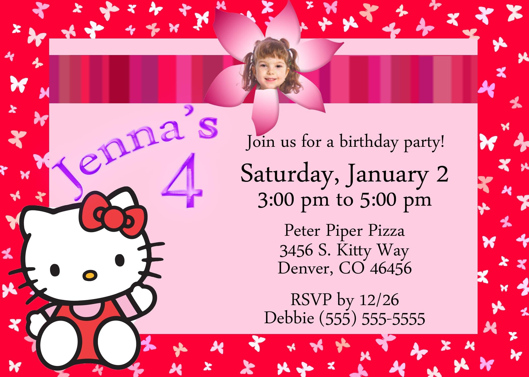 Hello Kitty Invitation For Birthday