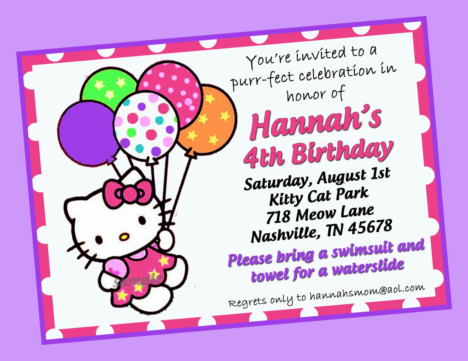 Hello Kitty Invitation Samples