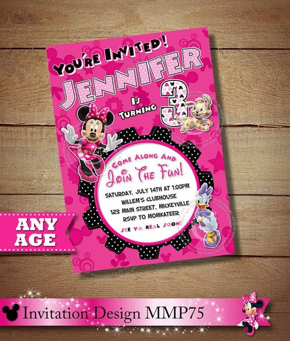 Images Of Minnie Mouse And Daisy Birthday Invitation