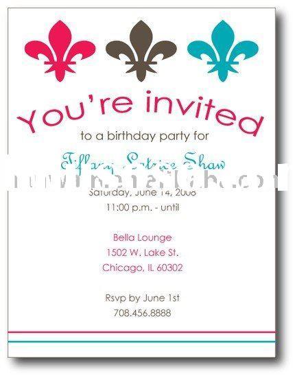 Invitation Card Birthday Party Sample