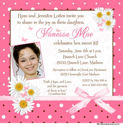 Invitation Card For Sweet 16