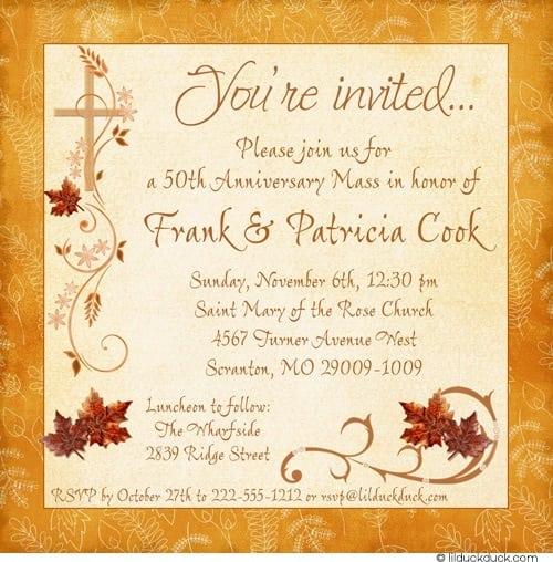 Invitation Card For Thanksgiving Mass