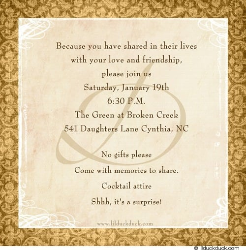 Invitation Cards 50th Anniversary Party