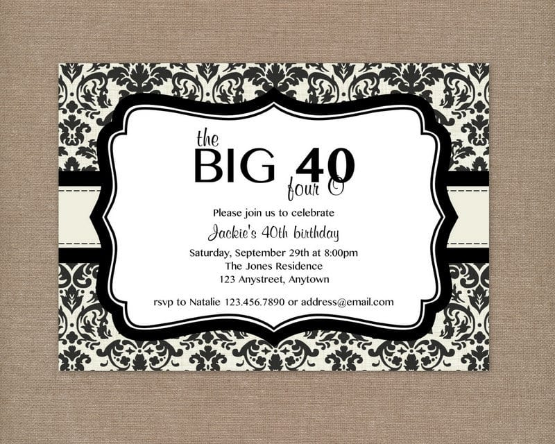 Invitation For 40th Birthday Party