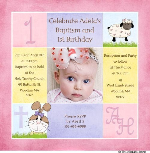 Invitation For Christening And 1st Birthday