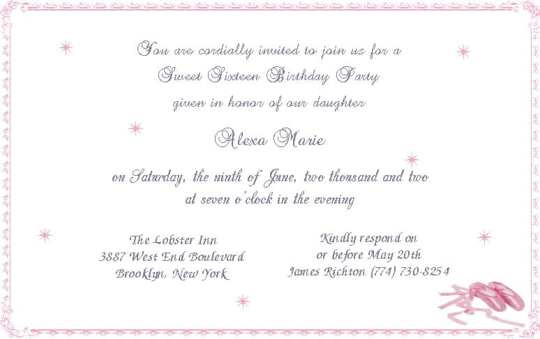 Invitation For Sweet 16 Wording