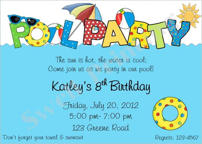 Invitation For Swimming Party