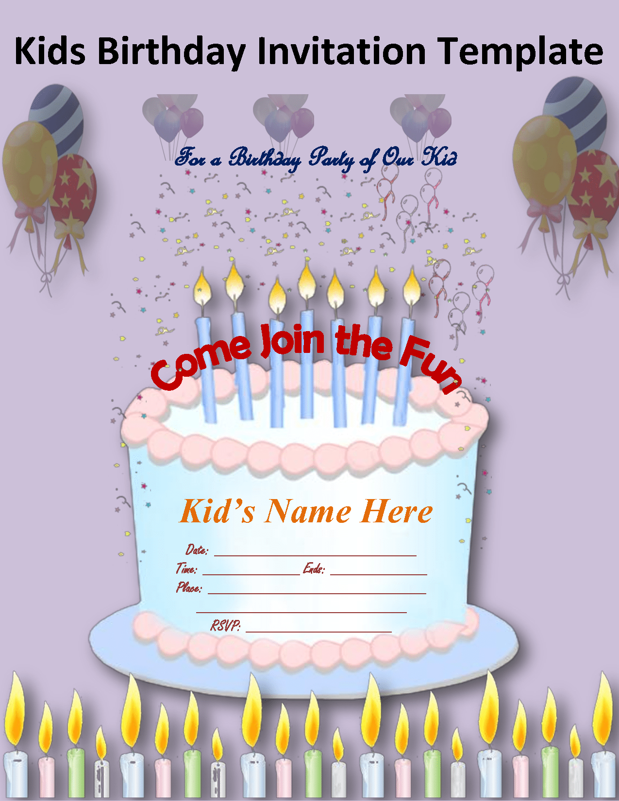 Invitation Template For Kids