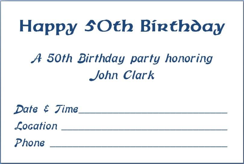 Invitation Templates For A 50th Birthday