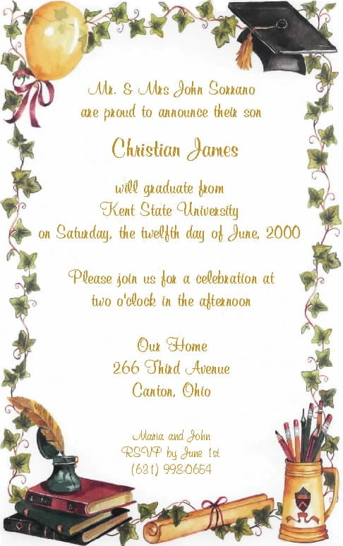 invitation to a graduation party. Black Bedroom Furniture Sets. Home Design Ideas