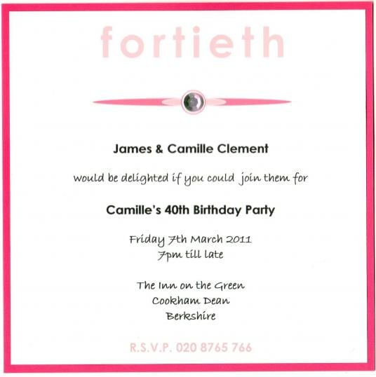 Invitation Wording For 40th Birthday Party