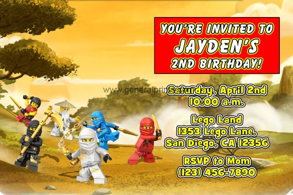 Lego Ninjago Party Printable Personal Invitation