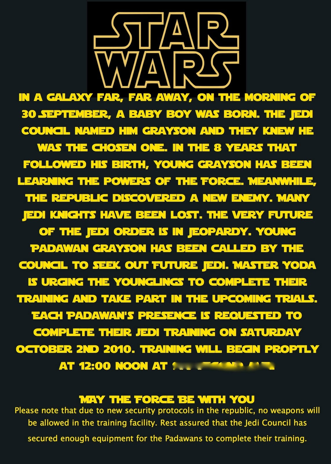 Lego Star Wars Invitation Wording