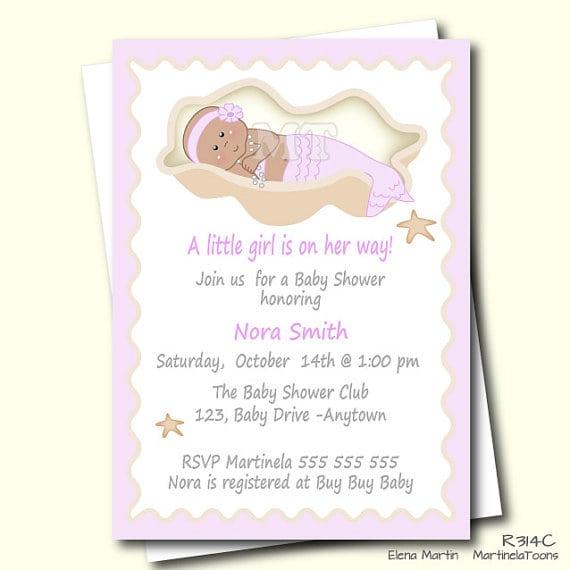 Little Mermaid Baby Shower Invitation