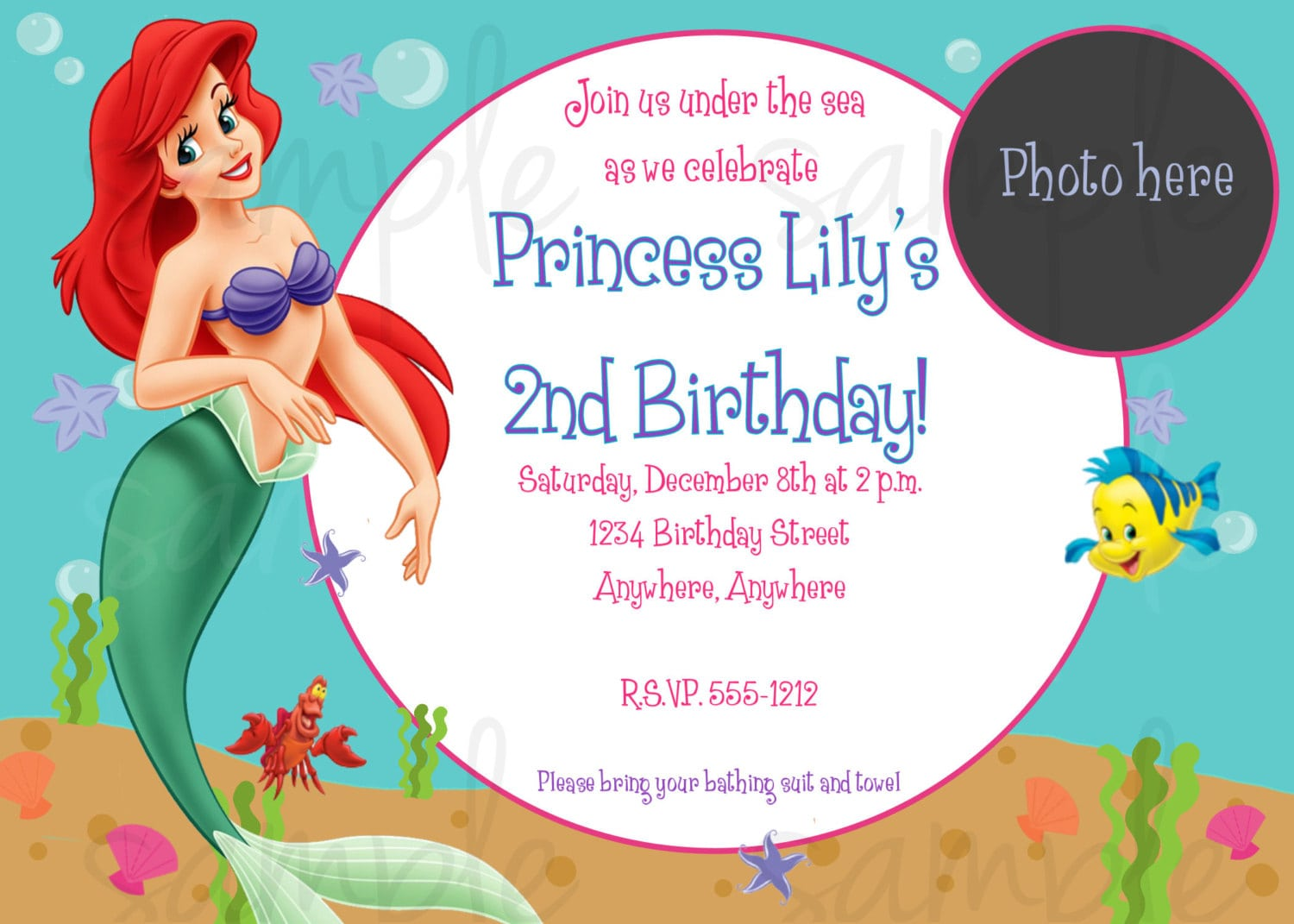 Little Mermaid Birthday Invitation Templates
