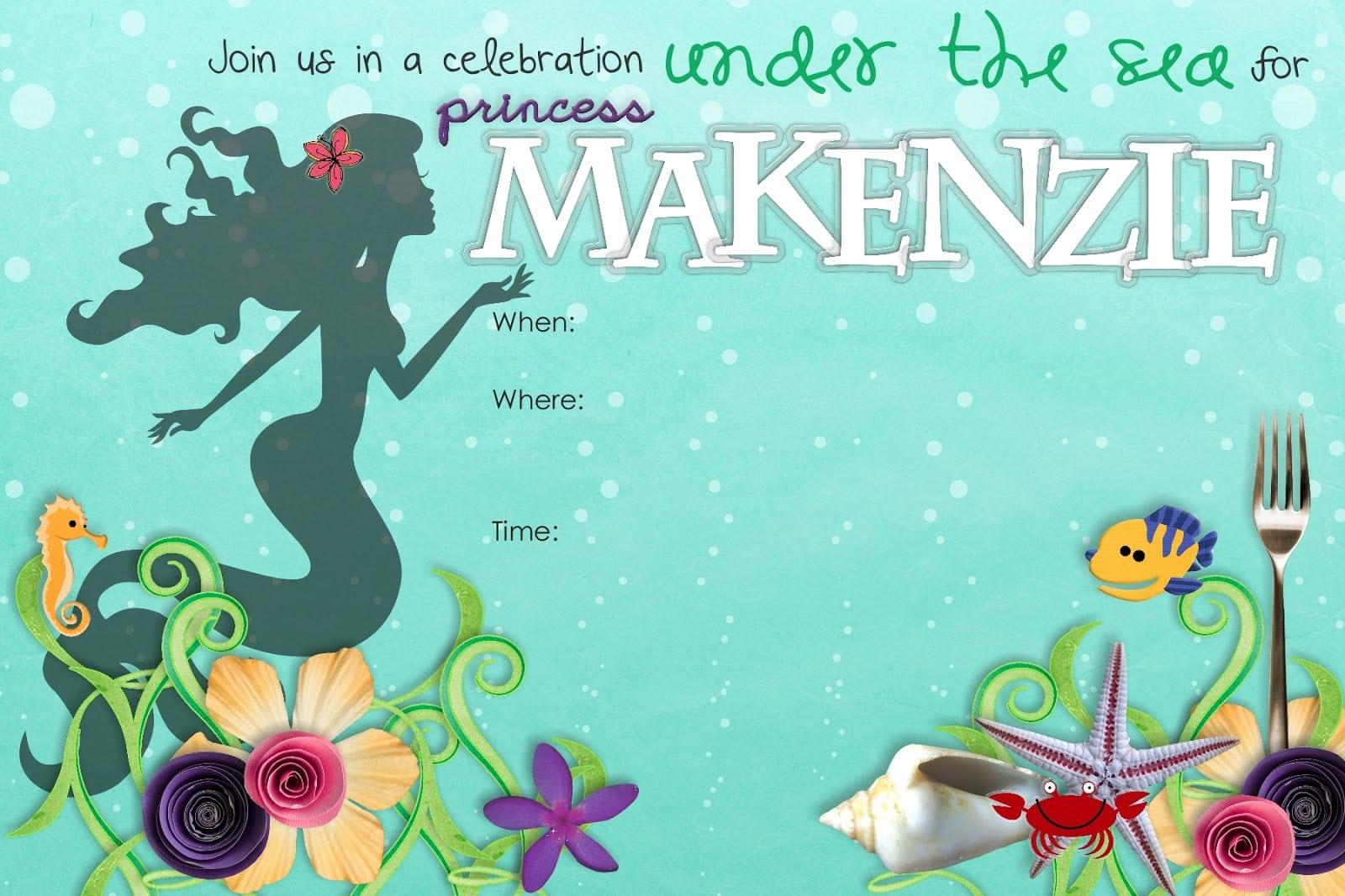 Little Mermaid Invitation Template Free