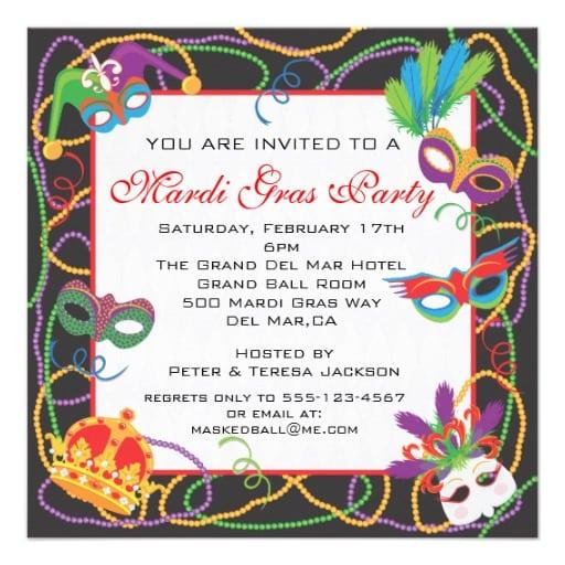 Mardi Gras Beads Pictures Invitation Template