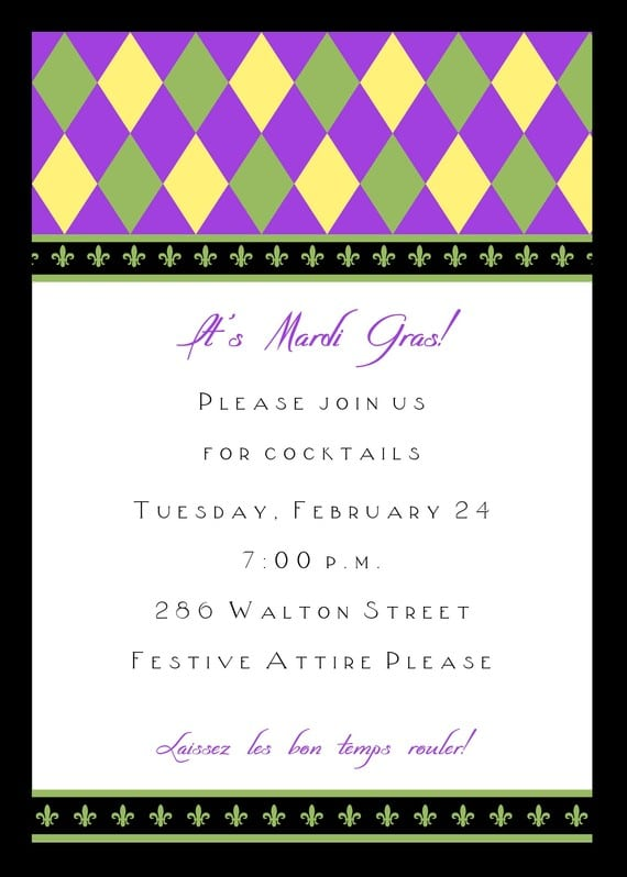 Mardi Gras Party Invitations Free Printable