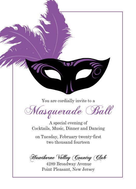 Mardi Gras Theme Invitation For Free