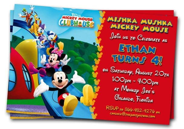 Mickey Mouse 1st Birthday Party Invitation Template