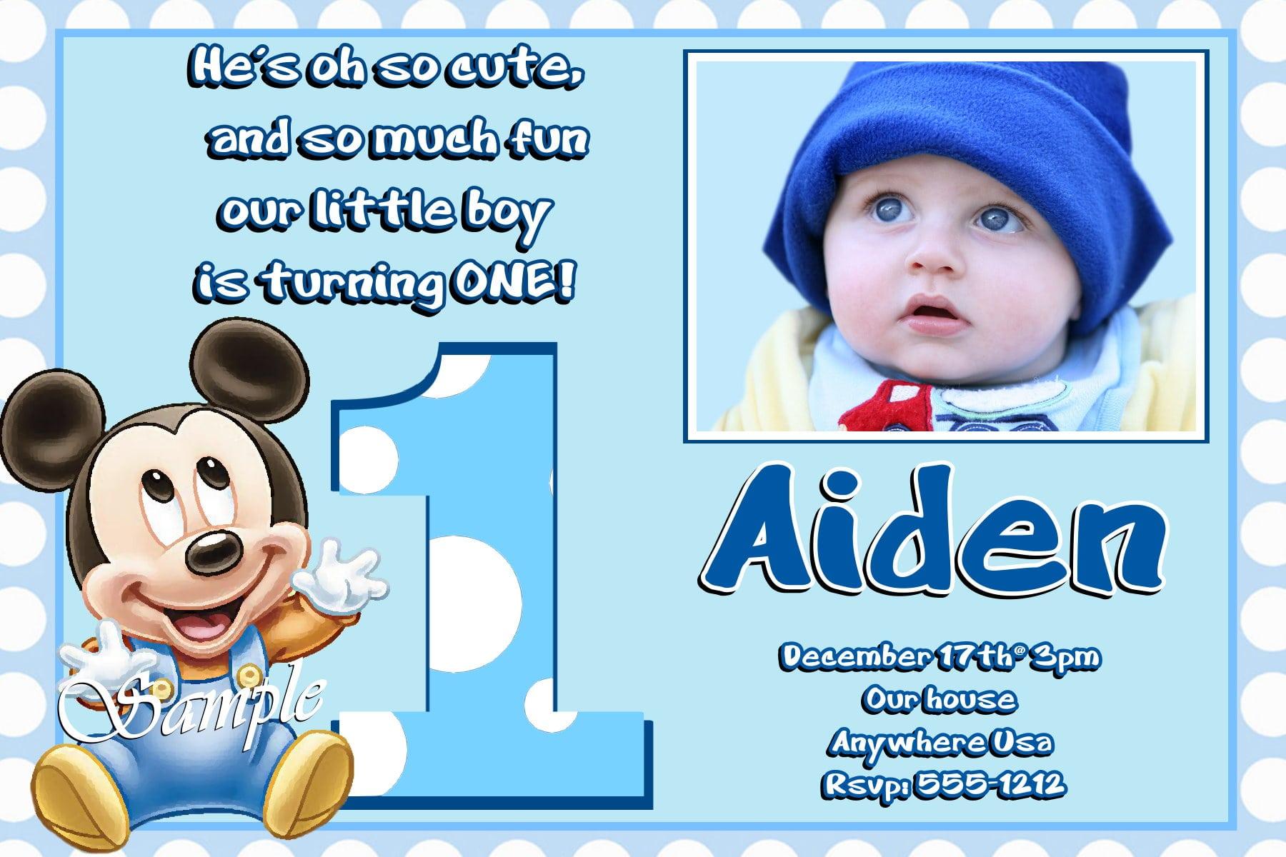 Mickey Mouse Birthday Invitation Sample