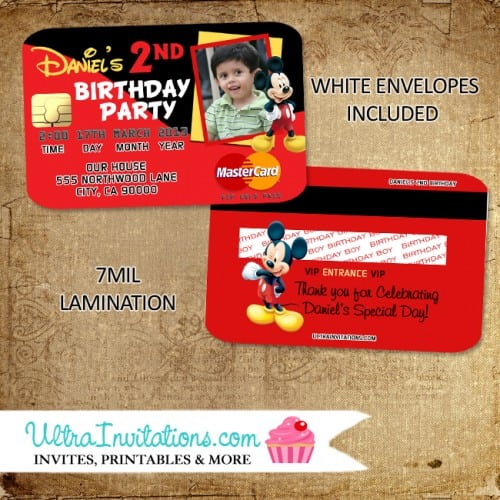 Mickey Mouse Birthday Party Invitation Cards