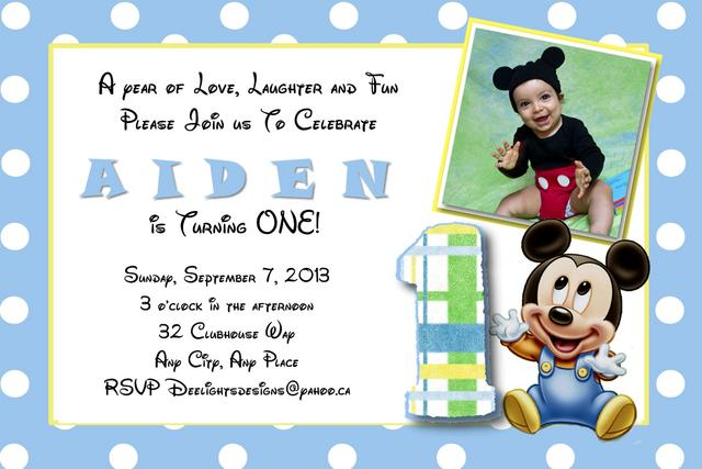 Mickey Mouse Christening Invitation