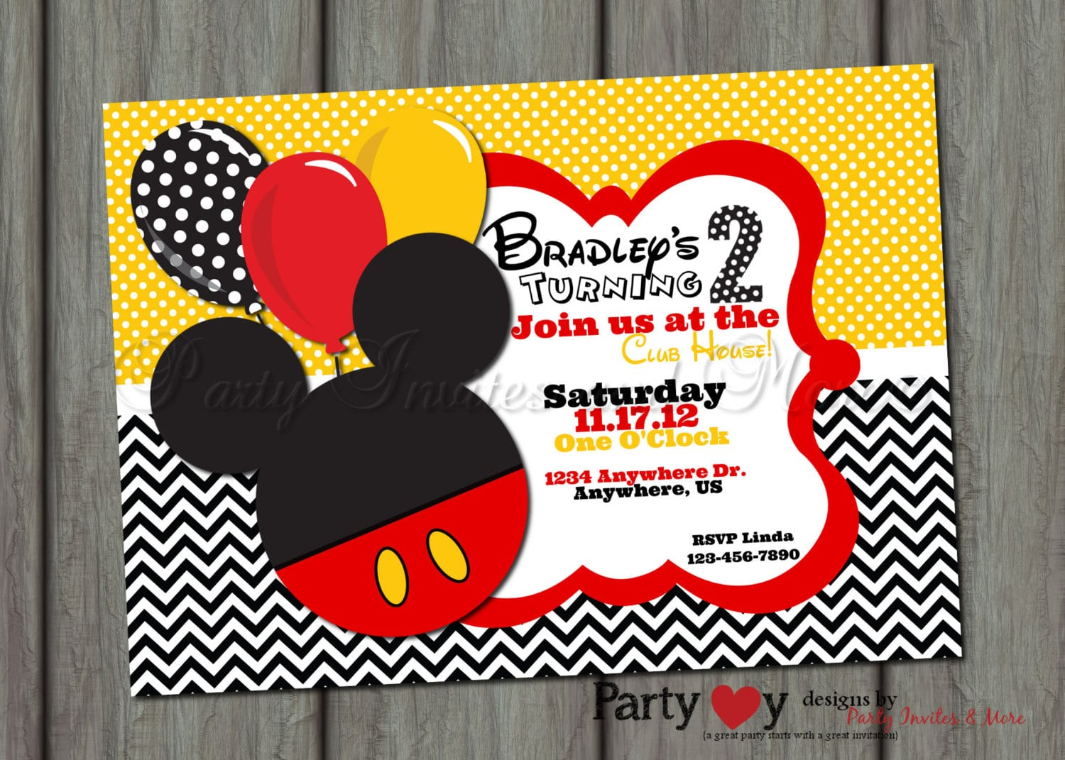 Mickey Mouse Clubhouse Invitation Layout