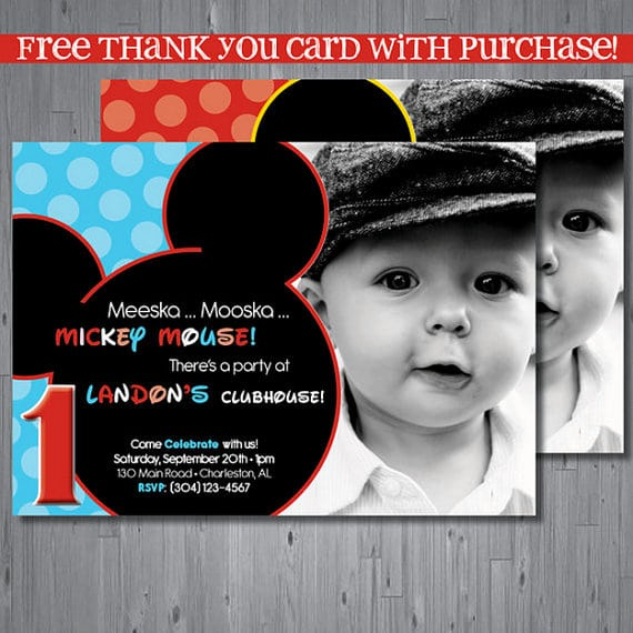 Mickey Mouse First Birthday Printable Invitation