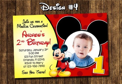 Mickey Mouse First Birthday Printable Invitations