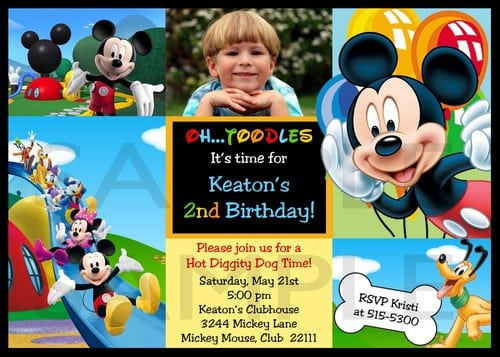 Mickey Mouse Photo Invitations Personalized