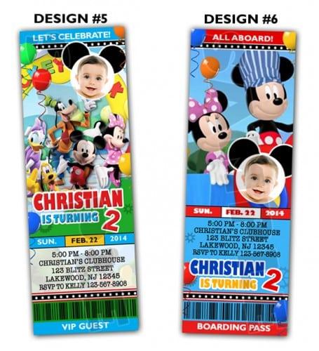 Mickey Mouse Ticket Birthday Invitations